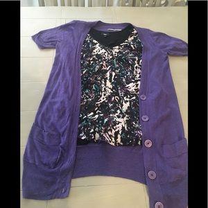 Rubbish Purple long cardigan with pockets.